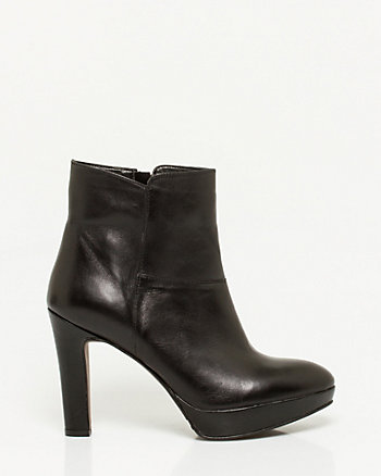 Italian Design Leather Almond Toe Booties