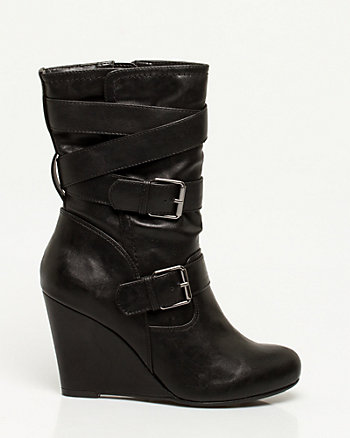 Leather-Like Buckle Trim Boot