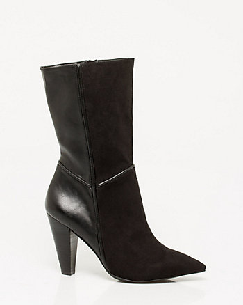 Leather-Like & Suede-Like Cone Heel Boot