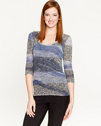 Stripe Cotton Blend  Sweater