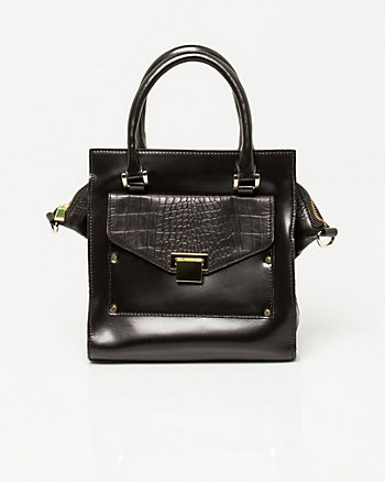 Leather Croc Embossed Tote