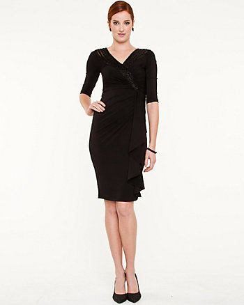 Beaded V-Neck Wrap Dress
