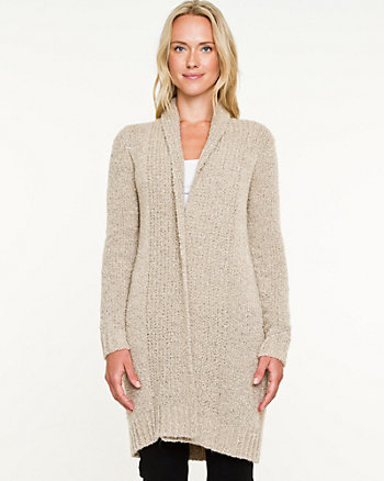 Bouclé Open-Front Sweater Coat