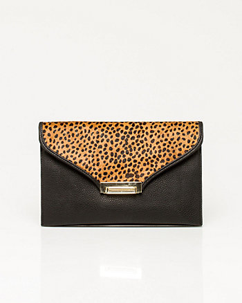 Leopard Print Pony Hair Clutch