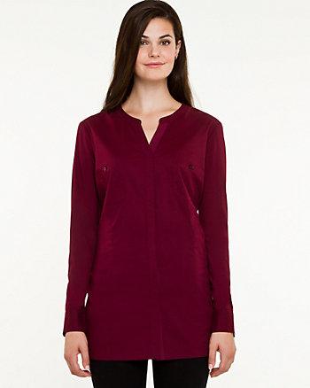 Cotton Poplin Mandarin Collar Shirt