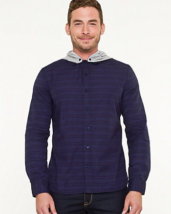 Stripe Cotton Hooded Shirt