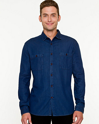 Tonal Denim Tailored Fit Shirt