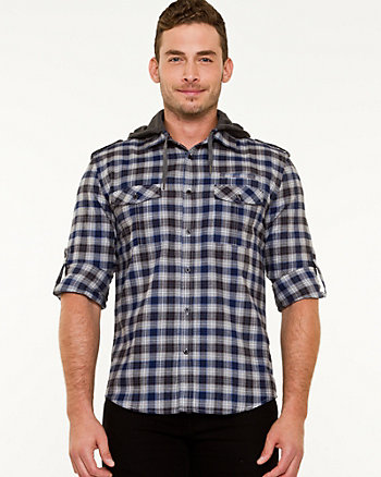 Cotton Check Hooded Shirt