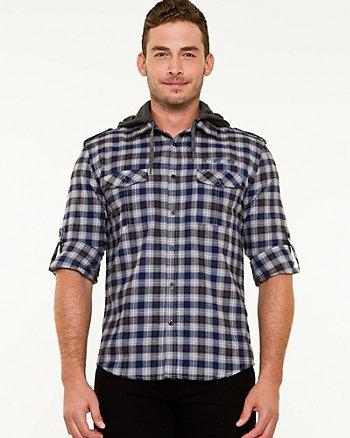 Chemise à carreaux à capuchon