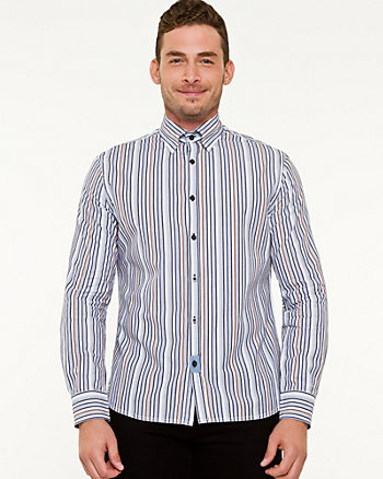 Stripe Cotton Button-Front Shirt