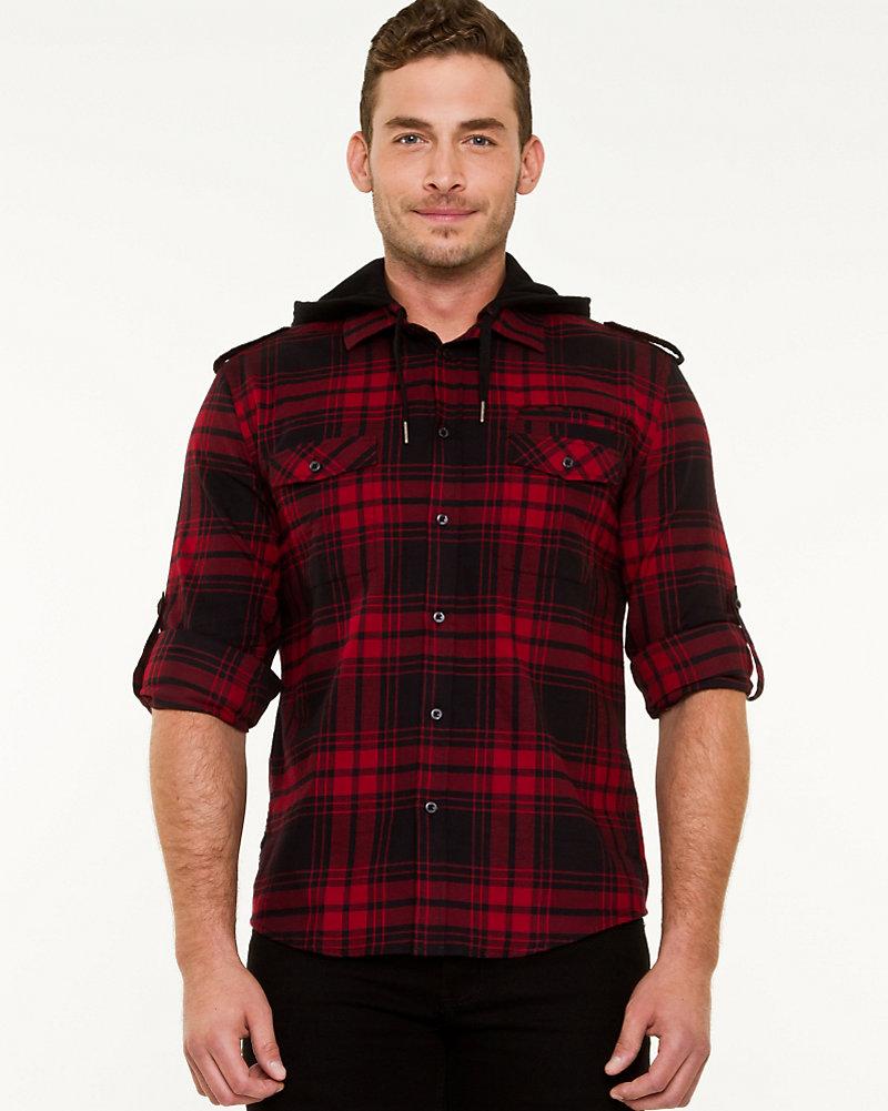 ac8a61aa075734 Check Print Hooded Shirt