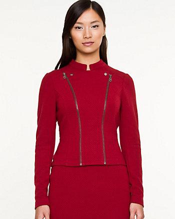 Jacquard Knit Zip Blazer
