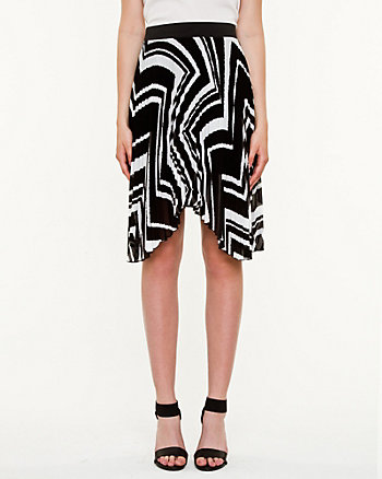 Chevron Chiffon High-Low Skirt
