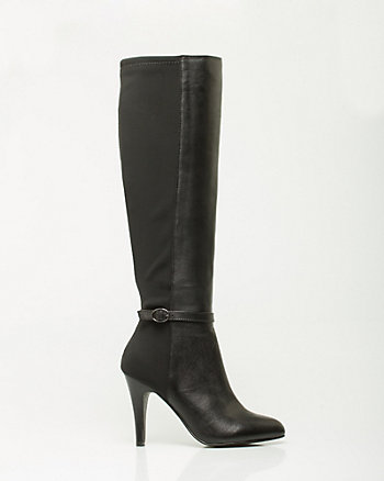 Leather & Lycra Almond Toe Boot