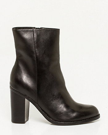 Leather Block Heel Bootie