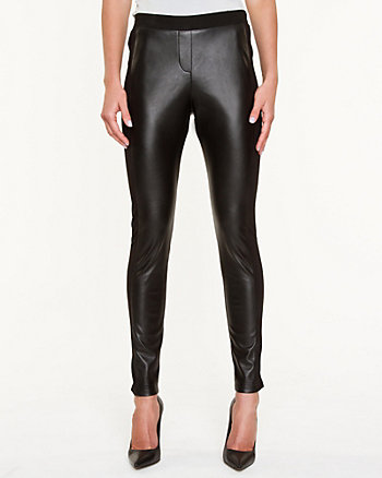 Double Knit & Faux Leather Legging