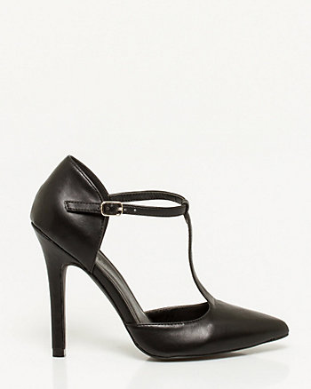 Leather-Like Pointy T-strap Pump