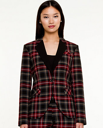 Plaid Notch Collar Blazer