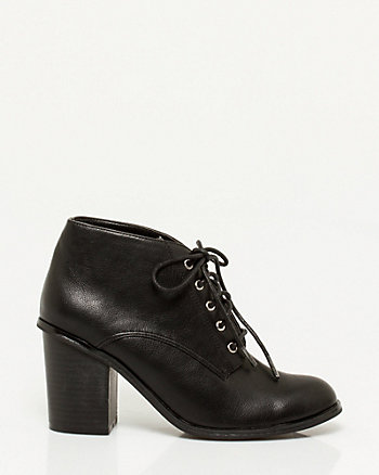 Leather-Like Lace-Up Shoe Bootie