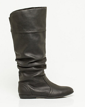 Leather-Like Ruched Boot
