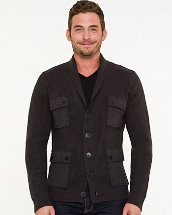 Wool Blend Shawl Collar Cardigan