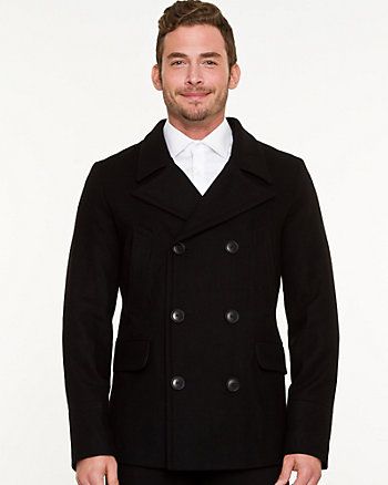 Wool Blend Notch Collar Peacoat