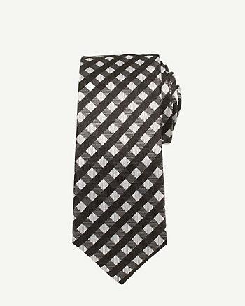 Silk Check Print Skinny Tie