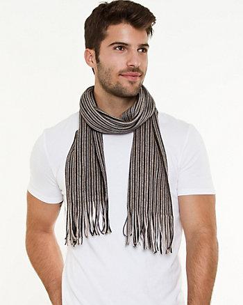 Stripe Knit Fringe Scarf