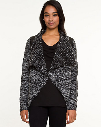 Tweed Open-Front Cardigan