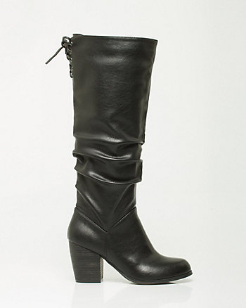 Leather-Like Block Heel Boot