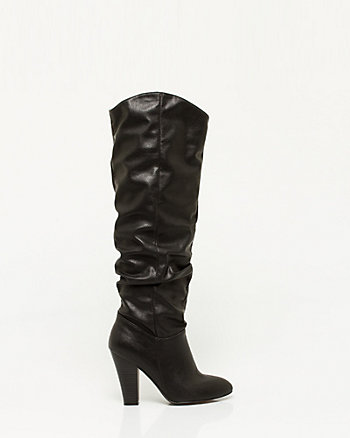 Leather-Like Over-the-Knee Ruched Boot