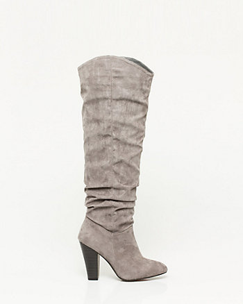 Suede-like Ruched Over-the Knee Boot