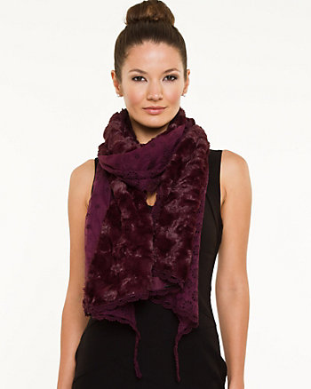 Faux Fur & Cotton Layered Scarf