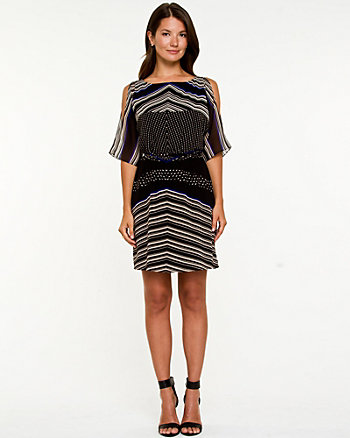 Abstract Print Boat Neck Dress