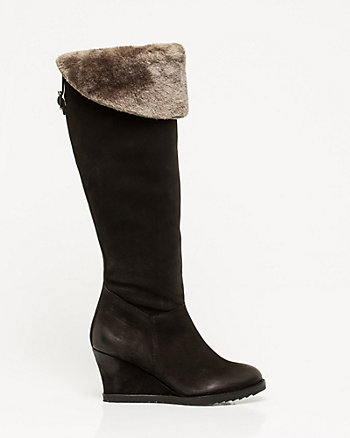 Leather Over-the-Knee Wedge Boot