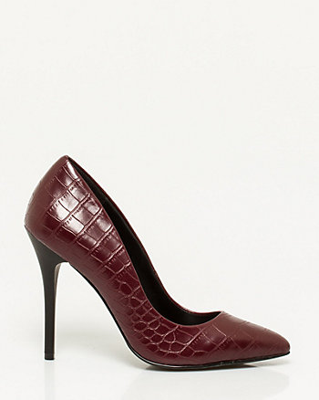 Crocodile Embossed Pointy Toe Pump