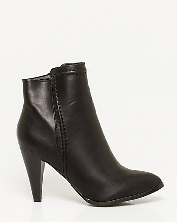 Leather-Like Pointy-toe Ankle Bootie