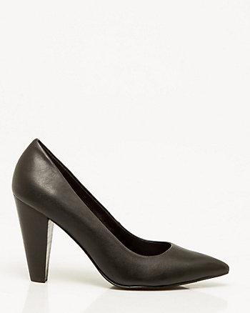 Leather-Like Cone Heel Pointy Toe Pump