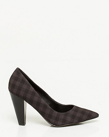 Leather-Like Cone Heel Pointy Toe Pump