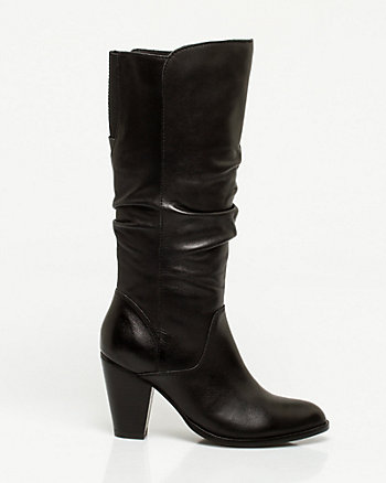 Ruched Leather Mid-Calf Boot