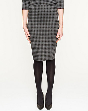 Knit Check Pencil Skirt