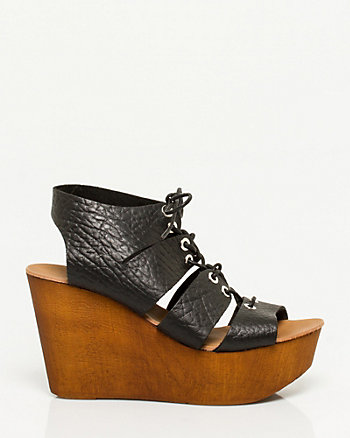 Italian-Made Leather Lace-Up Wedge