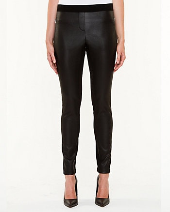 Faux Leather & Ponte Skinny Pant