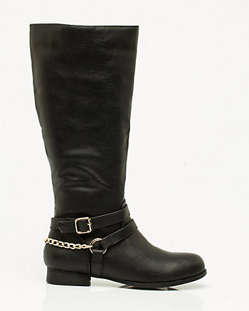 Leather-Like Chain Embellished Boot