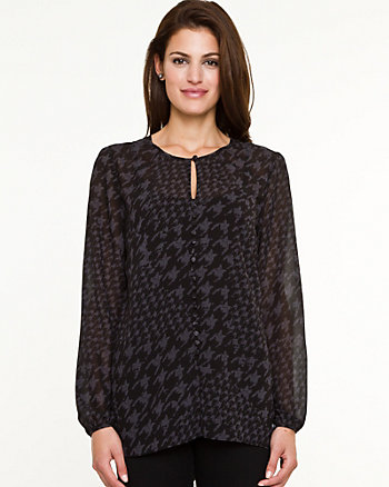 Houndstooth Chiffon Button-front Blouse