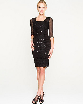 Lace Mesh Fitted Dress