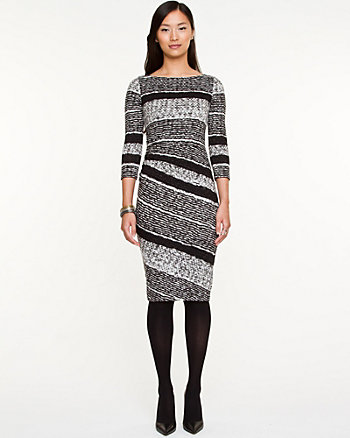 Stripe Ruched Midi Dress
