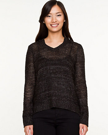 Open-Stitch Hooded Sweater