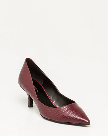 Leather Lizard Embossed Pointy Pump