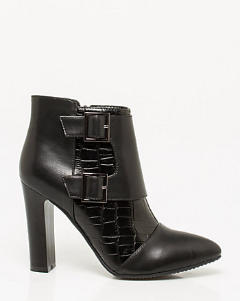 Crocodile Print Leather-Like Ankle Boot